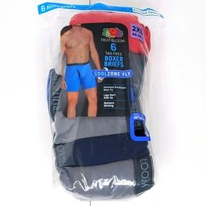 Fruit Of The Loom Boxer Briefs 6 Pk size 2XL 44-46